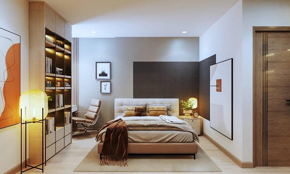 phòng ngủ master căn hộ 2 phòng ngủ Feliz Homes Hoàng Mai