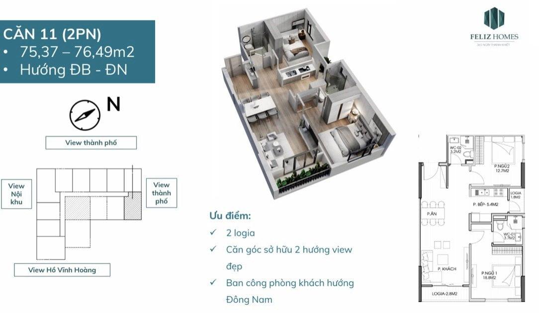 Thiết kế căn 2 phòng ngủ chung cư feliz homes