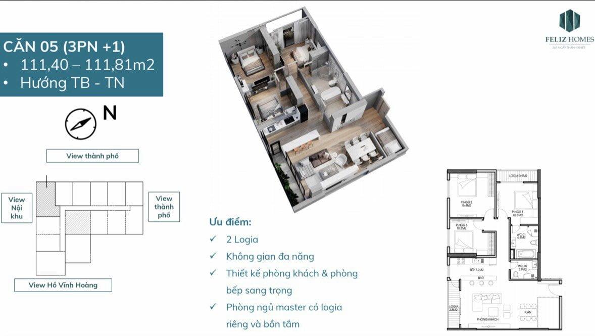 Thiết kế căn góc 3 phòng ngủ feliz homes