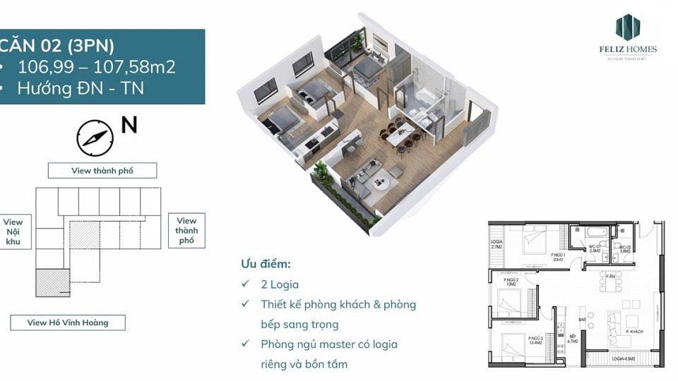 Thiết kế căn góc 3 phòng ngủ toa tropical
