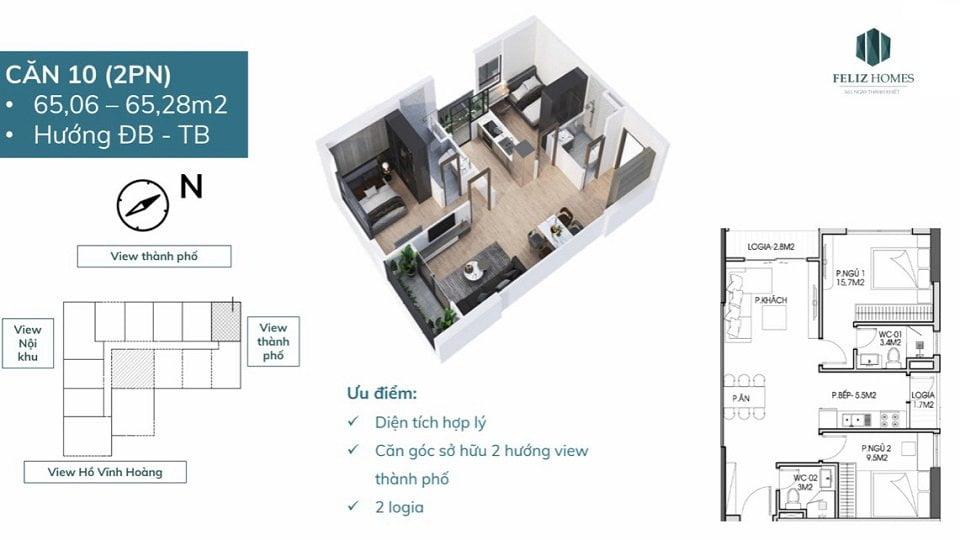 Thiết kế căn hộ 2 phòng ngủ Feliz Homes
