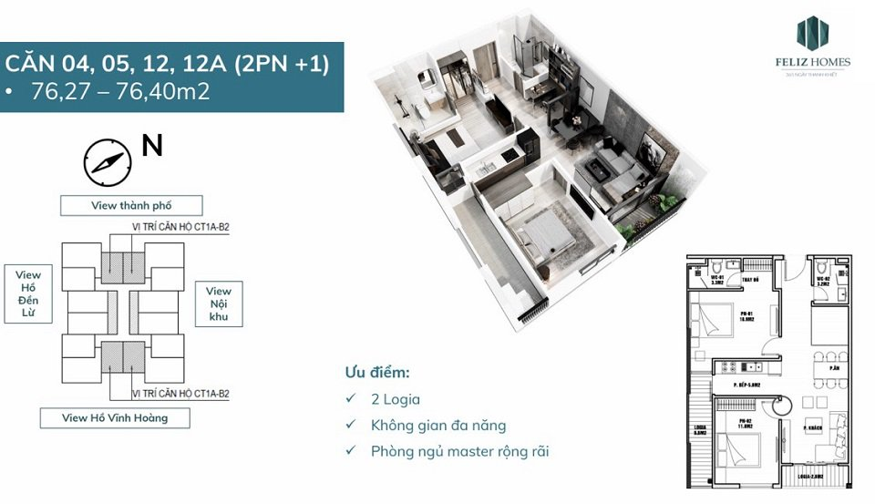 Thiết kế căn hộ 2 phòng ngủ tòa CT1A Fantasy