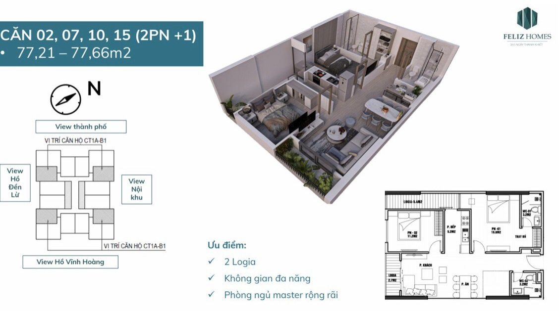 Thiết kế căn hộ 2 phòng ngủ toa feliz home