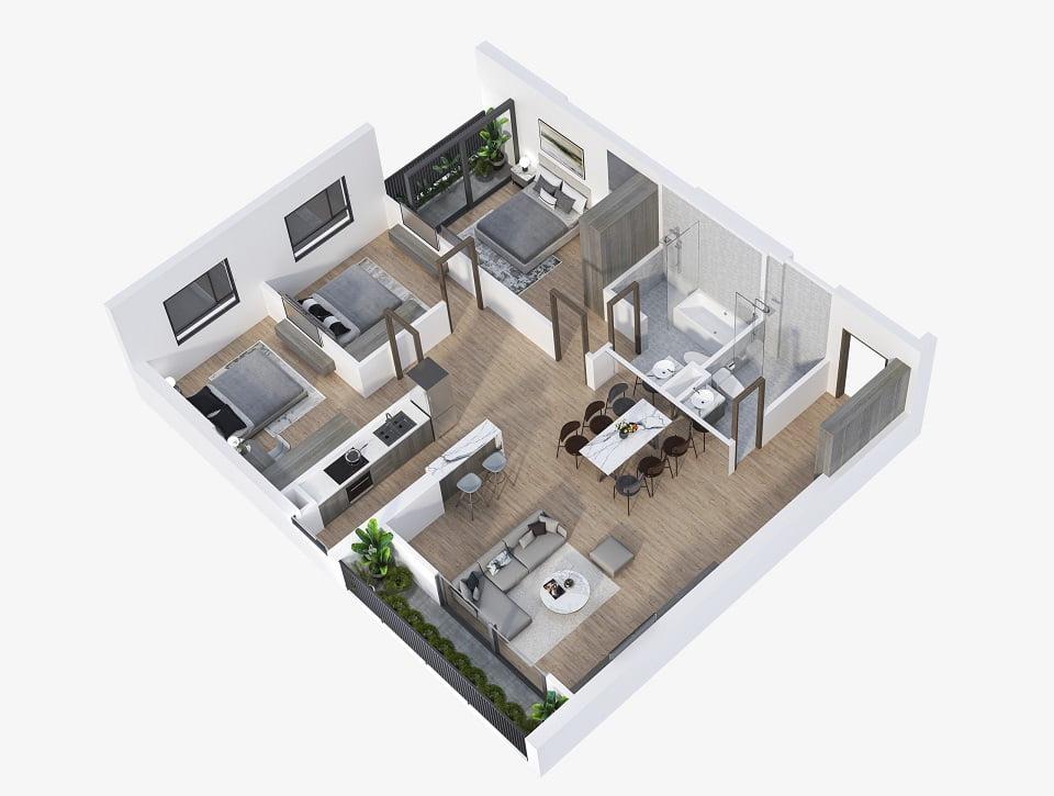 Thiết kế căn hộ 3 phòng ngủ feliz homes