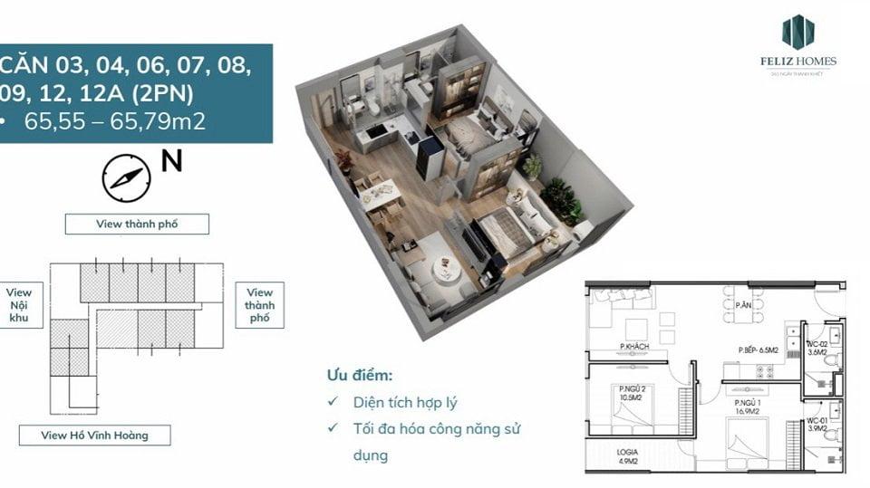 Thiết kế chung cư Feliz Homes 2 phòng ngủ