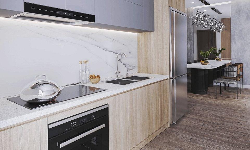 Thiết kế khu bếp căn hộ 2 phòng ngủ Feliz Homes