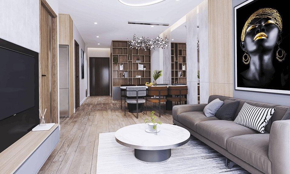 Nội thất phòng khách chung cư Feliz Hoàng Mai